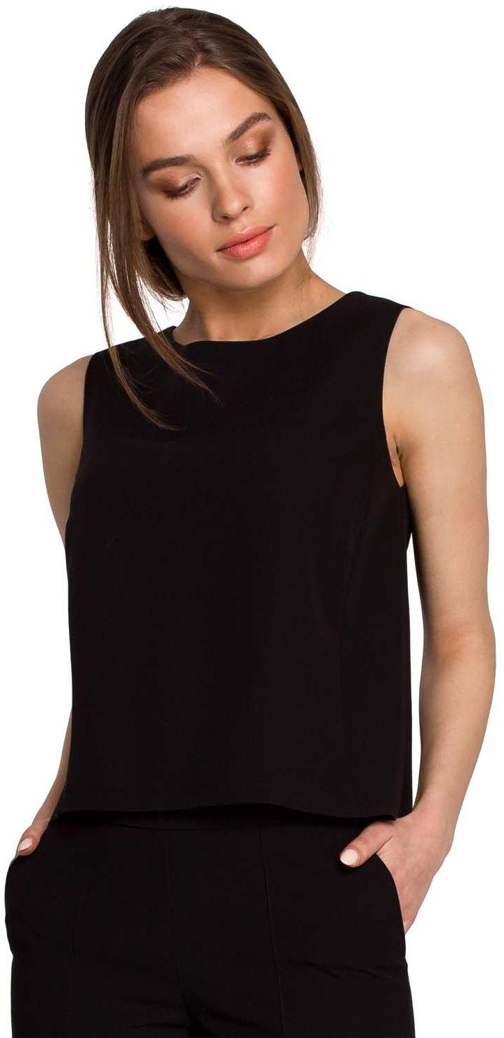 Krótka bluzka bez rękawów - czarna