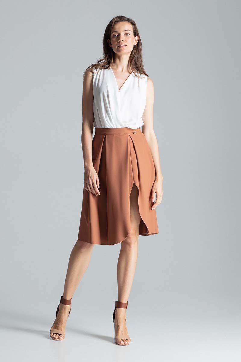 Brązowa asymetryczna spódnica w kształcie litery a