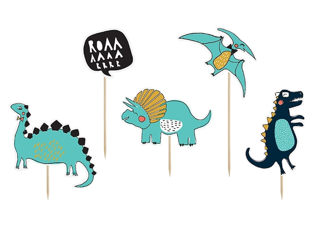 Toppery na tort Dino Party - 10,5 - 20 cm - 5 szt.