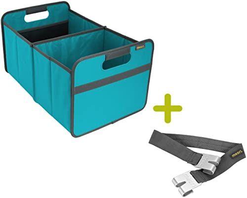 meori Azur składane pudełko duże niebieskie + uchwyt 32 x 50 x 27,5 cm zmywalne stabilne poliester piknik impreza grillowanie ogród kemping wycieczka do sprzątania regał, zestaw