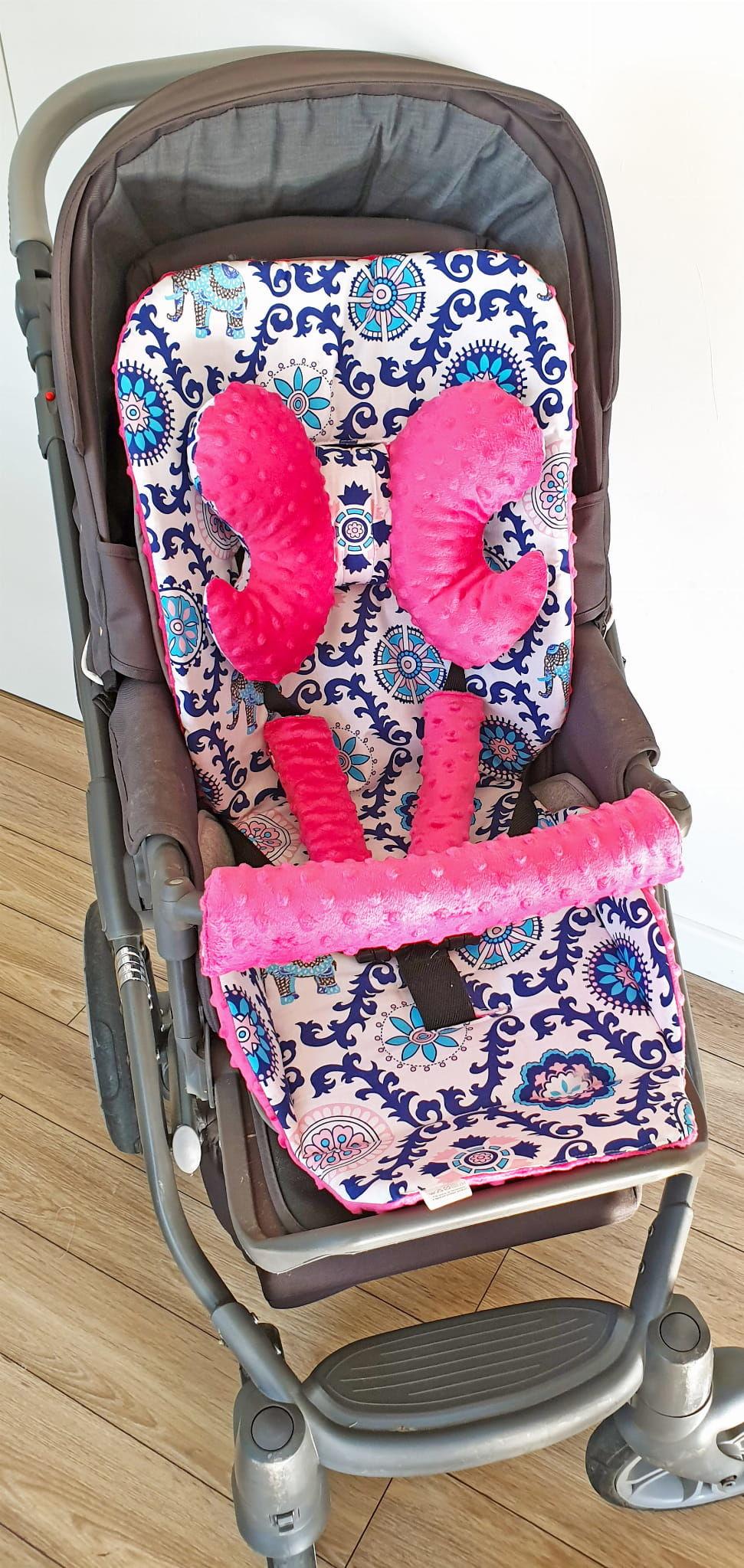 Wkładka do wózka, ochraniacze na pasy i pałąk + motylek india