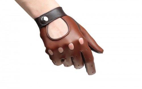 Damskie rękawiczki samochodowe koniakowo brązowe