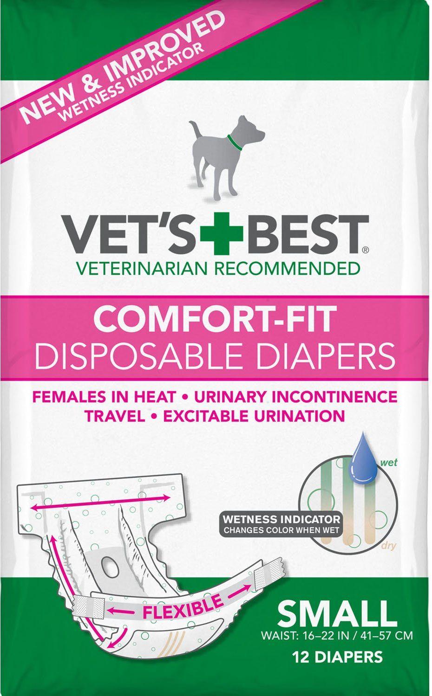 Vet''s Best Comfort Fit Pieluchy dla psów Jednorazowe damskie pieluchy dla psów chłonne z szczelnym dopasowaniem małe 12 szt.