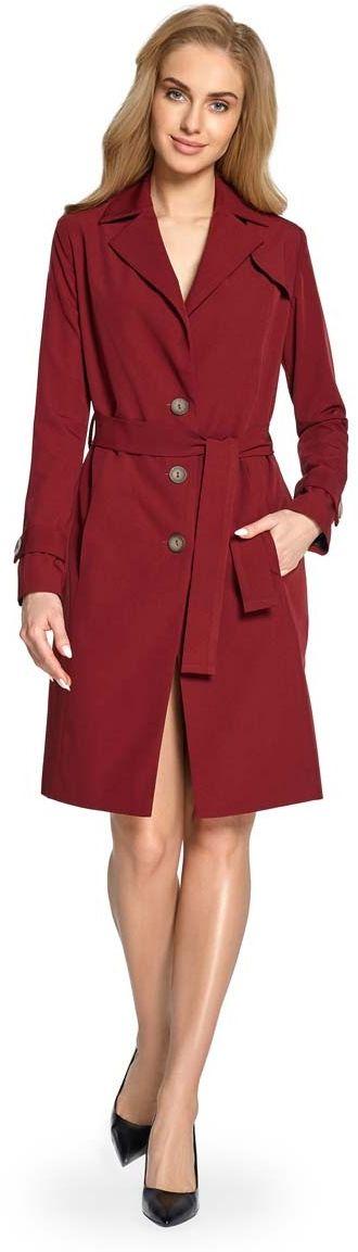 Bordowy płaszcz jednorzędowy trencz z paskiem