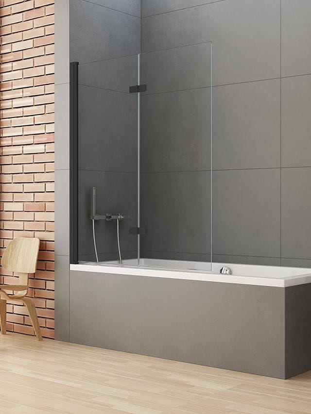New Trendy parawan nawannowy New Soleo Black 120 cm, lewy wys. 140 cm, szkło czyste 6 mm P-0043