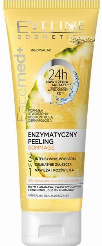 Eveline Cosmetics - FaceMed+ GOMMAGE PEELING - Enzymatyczny peeling do twarzy 3w1 - Cera wrażliwa, sucha i naczynkowa - Ananas - 50 ml