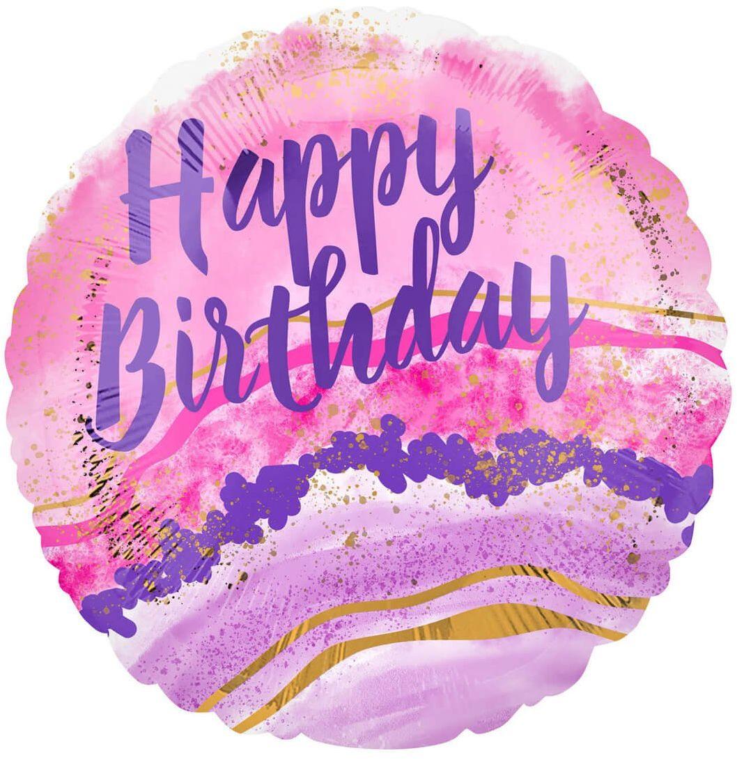 Balon foliowy Happy Birthday Akwarela - 43 cm - 1 szt.