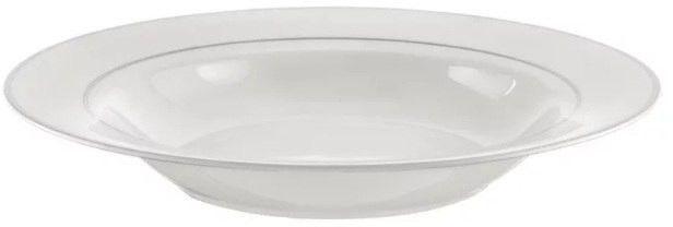 Ambition Aura Silver 18 El. Biały - Komplet Talerzy Porcelanowych Na 6 Osób