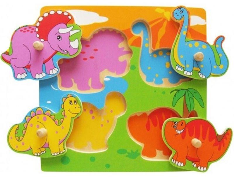 Drewniane Puzzle Dinozaury Układanka Niespodzianka Viga Toys LK