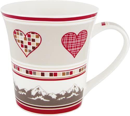 Générique 3013 filiżanka serce wersja szara luza, porcelana, wys. 10,5 x śr. 8 cm, ceramika, czerwony, szary, 9,5 x 12,5 x 10 cm