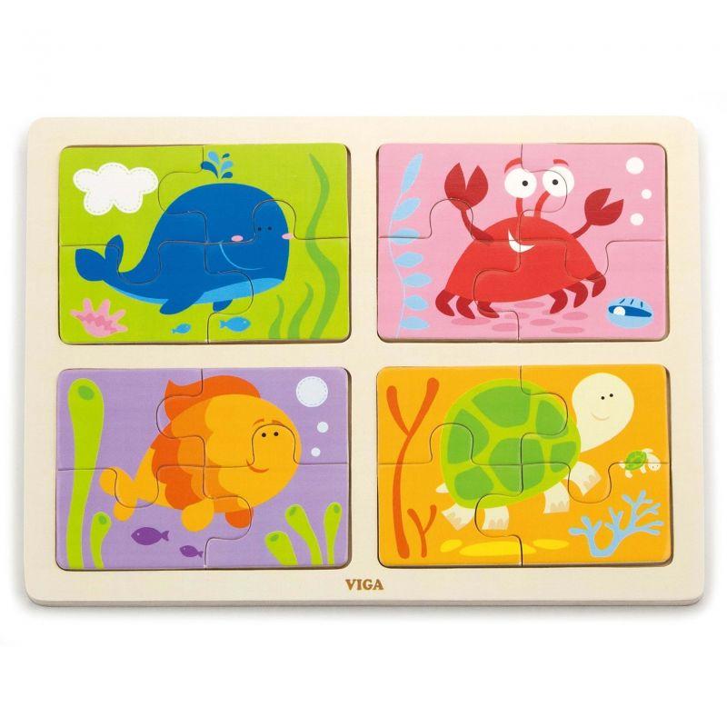 VIGA Drewniane Puzzle Zwierzęta Morskie 4w1 LK