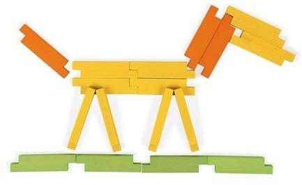 Janod - Drewniane Klocki Konstrukcyjne 60 Elementów 4+, Janod