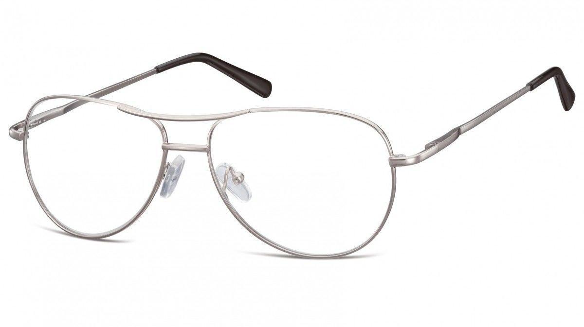 Okulary oprawki dziecięce zerówki Pilotki MK1-49B srebrne