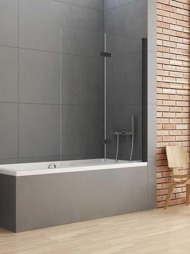 New Trendy parawan nawannowy New Soleo Black 120 cm, prawy wys. 140 cm, szkło czyste 6 mm P-0044