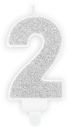 Świeczka cyferka 2 srebrna brokat 7cm SCU3-2-018B