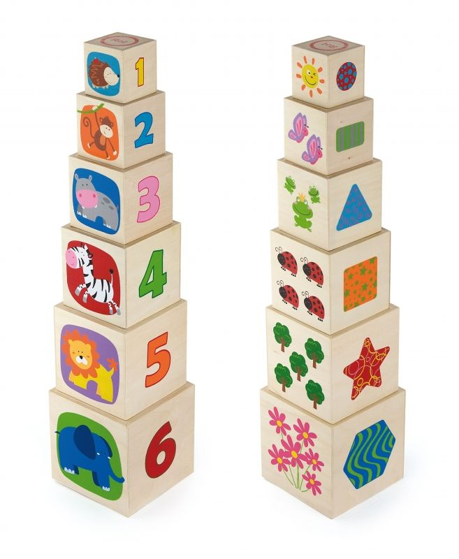 Viga Toys Drewniana Piramida Piramidka Układanka Edukacyjna LK