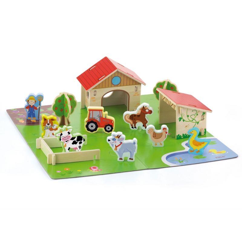 Viga Drewniana Farma dla Zwierząt 3D Zagroda ze zwierzętami 30 elementów LK