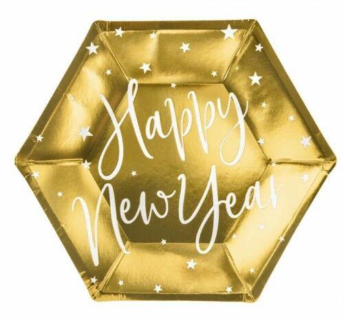 Talerzyki papierowe na Sylwestra Happy New Year, 6 szt.