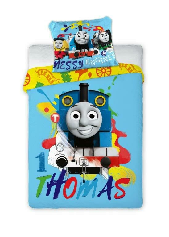 Pościel bawełniana 100x135 Tomek i przyjaciele niebieska 5786 dziecięca do łóżeczka