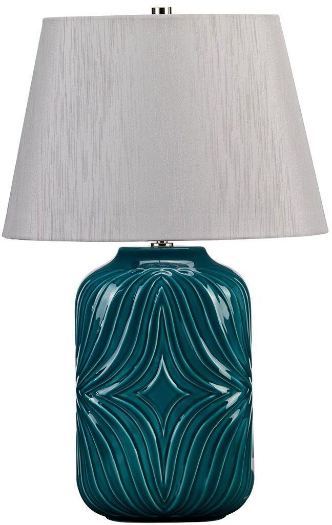 Lampa stołowa Muse Turquoise MUSE/TL TURQSE Elstead Lighting turkusowa oprawa z dekoracyjnym wzorem