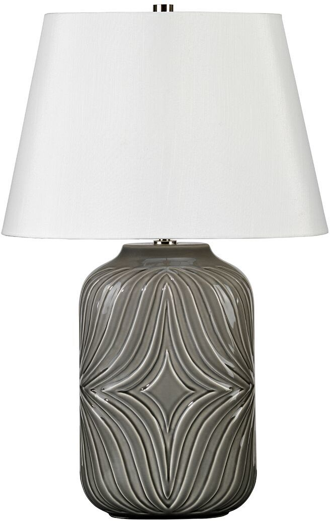 Lampa stołowa Muse Grey MUSE/TL GREY Elstead Lighting szara oprawa z dekoracyjnym wzorem