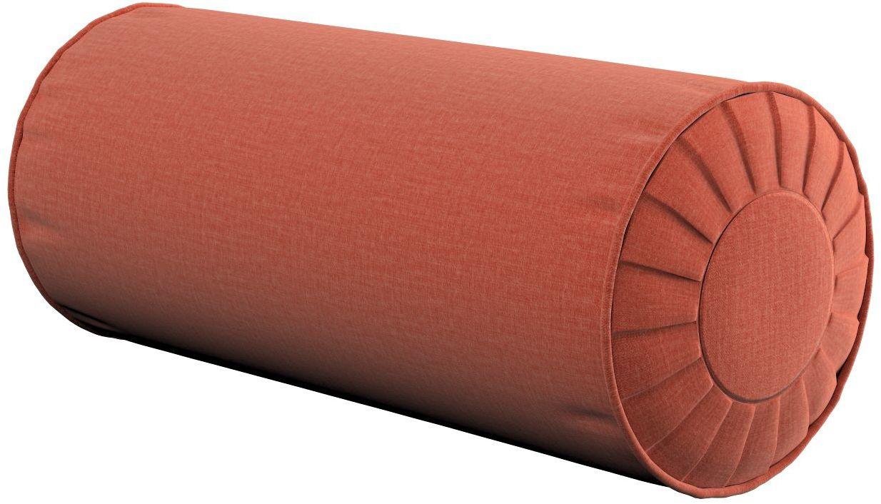 Poduszka wałek z zakładkami, terakota - welwet, Ø20  50 cm, Ingrid