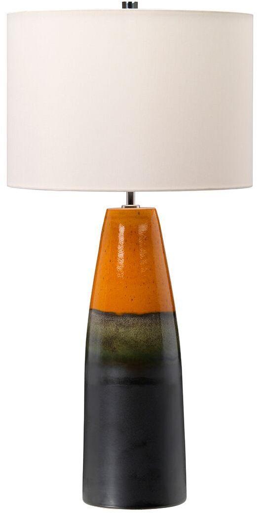 Lampa stołowa Burnt Oak Elstead Lighting grafitowo-pomarańczowa oprawa w nowoczesnym stylu