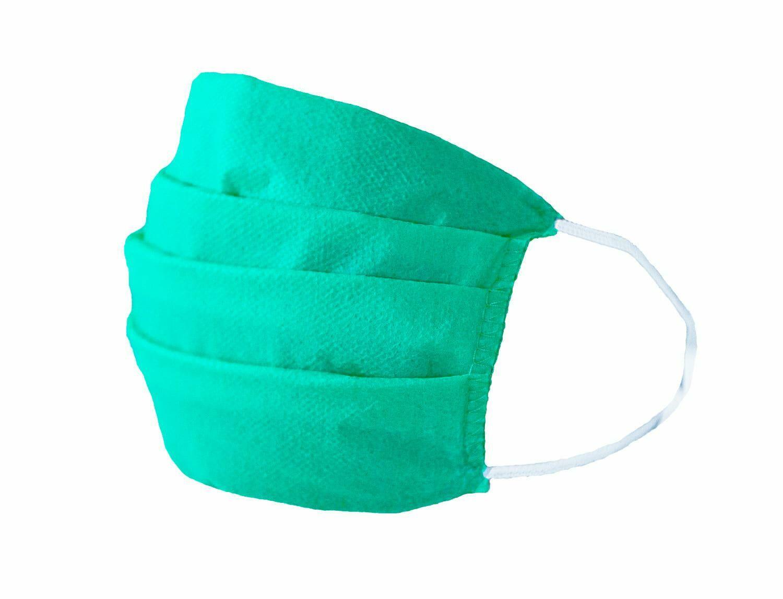 Maseczka maska ochronna na twarz jednorazowa komplet 10 szt. flizelina trzywarstwowa zielona na gumki Produkt Polski