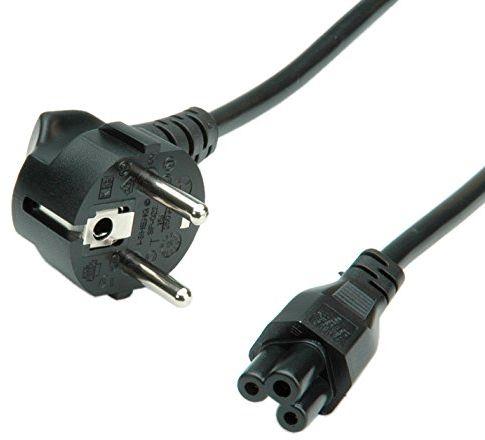 ROLINE Kabel zasilający Kabel zasilający wtyczka euro zestyk ochronny - notebook 3-pinowy Kabel przyłączeniowy do zimnych urządzeń PC, monitor, telewizor, PS4, skaner, drukarka, czarny 1,8 m