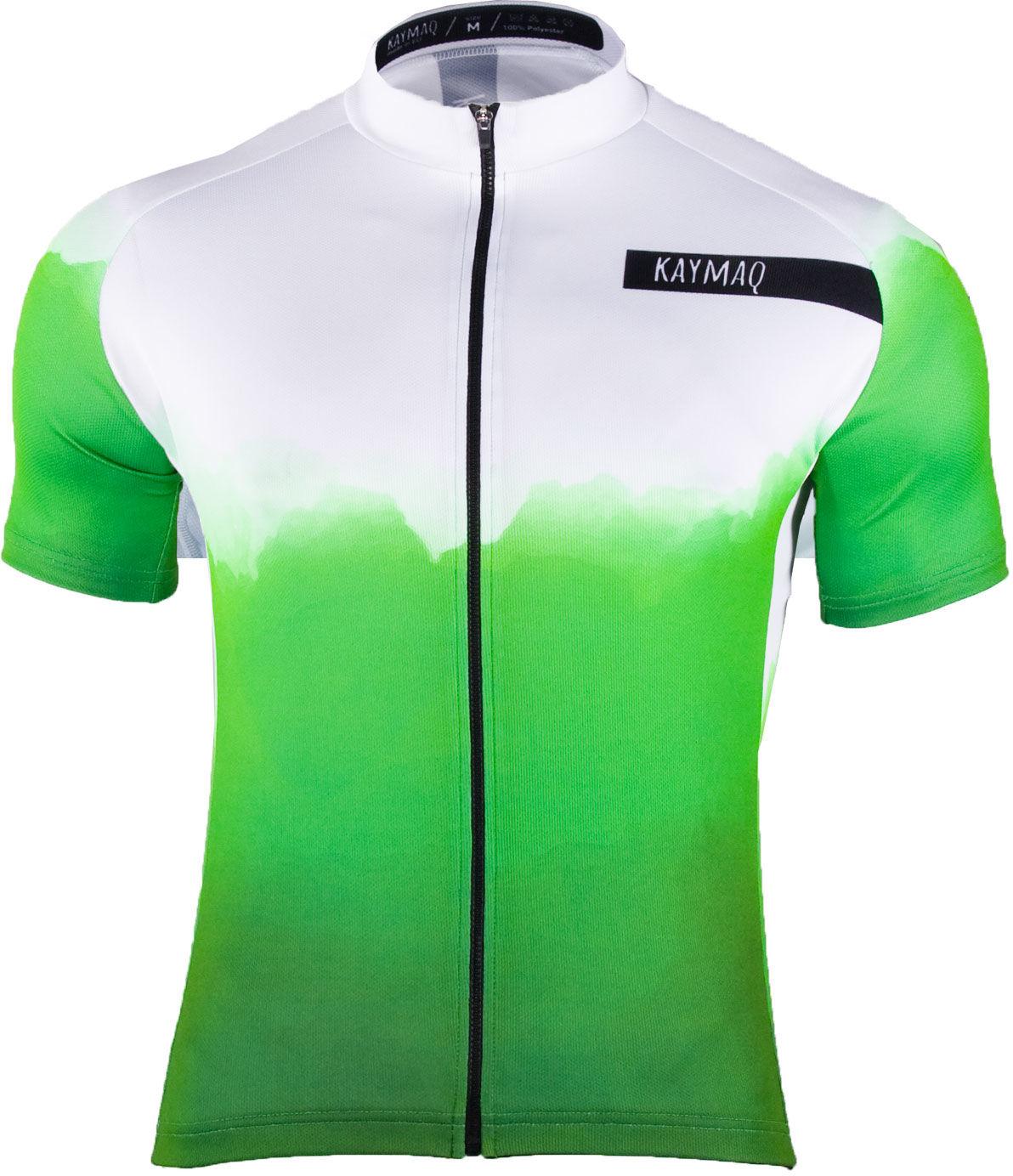 KAYMAQ M21 męska koszulka rowerowa z krótkim rękawem biało fluo-zielony Rozmiar: L,kaymaqm21fluo