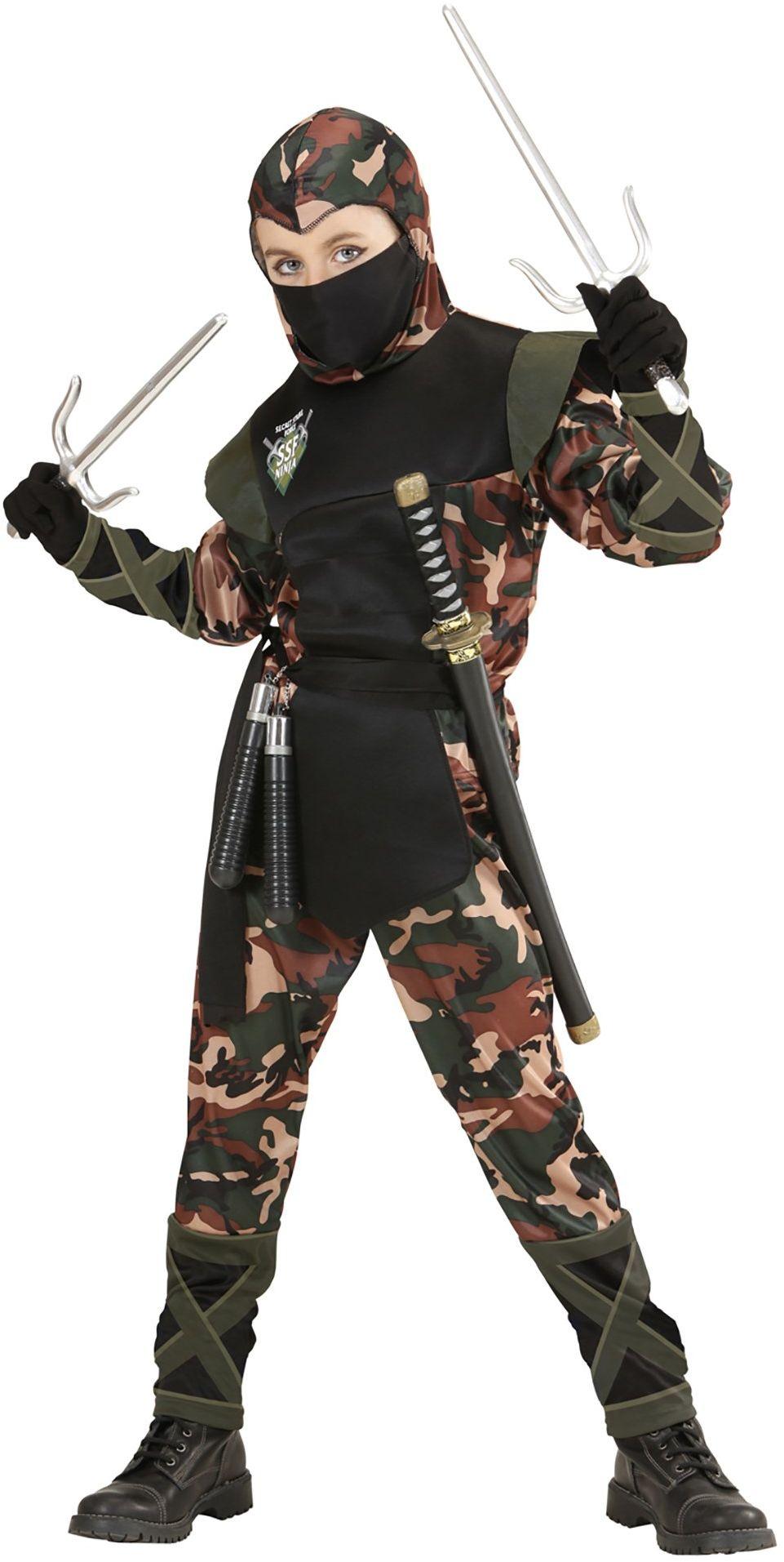 Widmann 76528 kostium dziecięcy żołnierz Ninja płaszcz z kapturem, ochraniacz na usta, spodnie, pasek