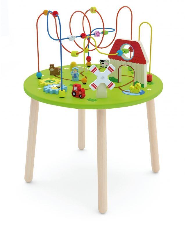 Drewniany Duzy stolik edukacyjny Farma Rollercoaster Viga Toys LK