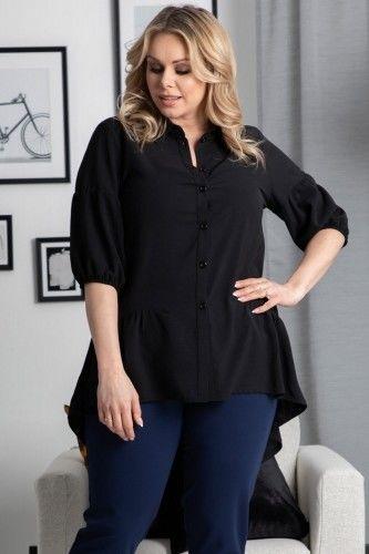 Koszula tunika wieczorowa ozdobna falbanka BRYGIDA czarna