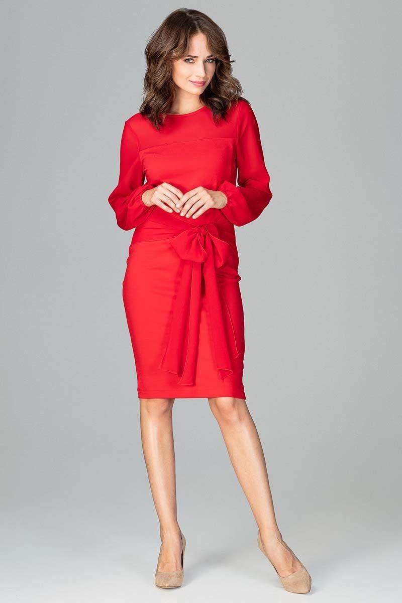 Czerwona kobieca wizytowa sukienka z prześwitującymi rękawami