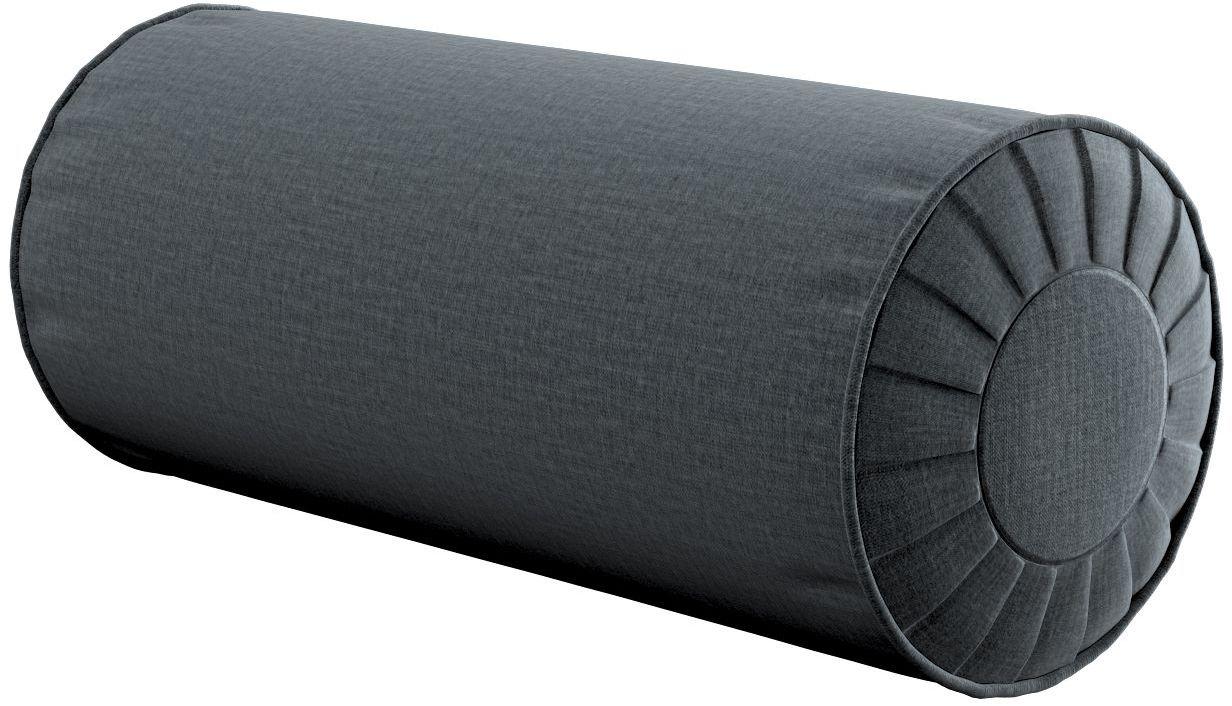 Poduszka wałek z zakładkami, grafitowy welwet, Ø20  50 cm, Ingrid