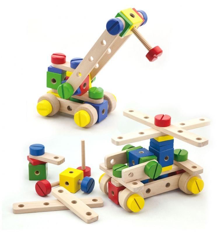 Drewniany zestaw konstrukcyjny Viga Toys 53 elementy w skrzynce LK