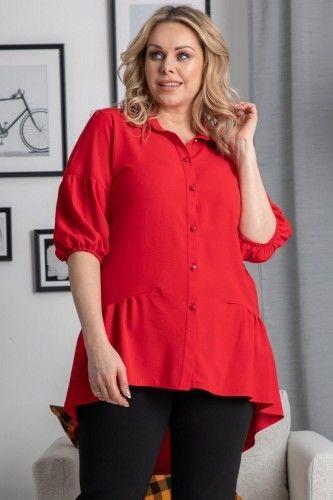 Tunika - koszula na świeta ozdobna falbanka BRYGIDA czerwona