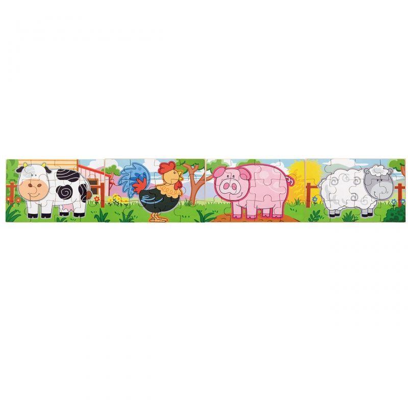 Drewniane Puzzle Farma Zwierzątka Viga Toys Układanka 4 Obrazki LK