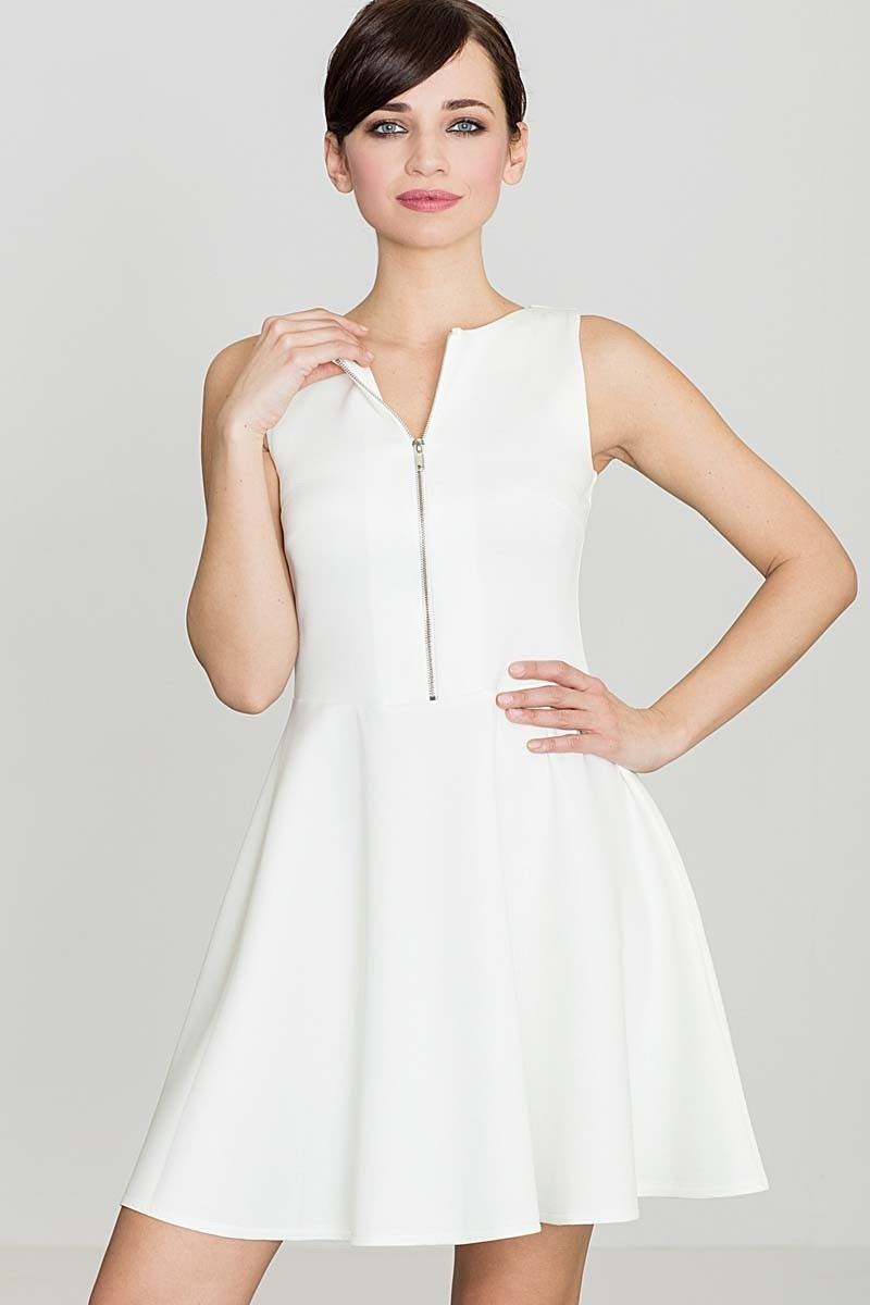 Ecru rozkloszowana sukienka z ozdobnym suwakiem