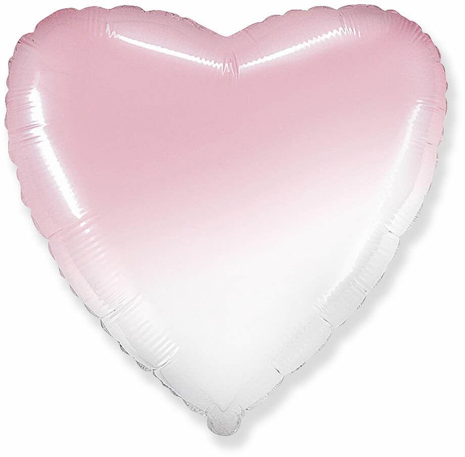 Balon foliowy serce ombre biało-różowy - 46 cm - 1 szt.