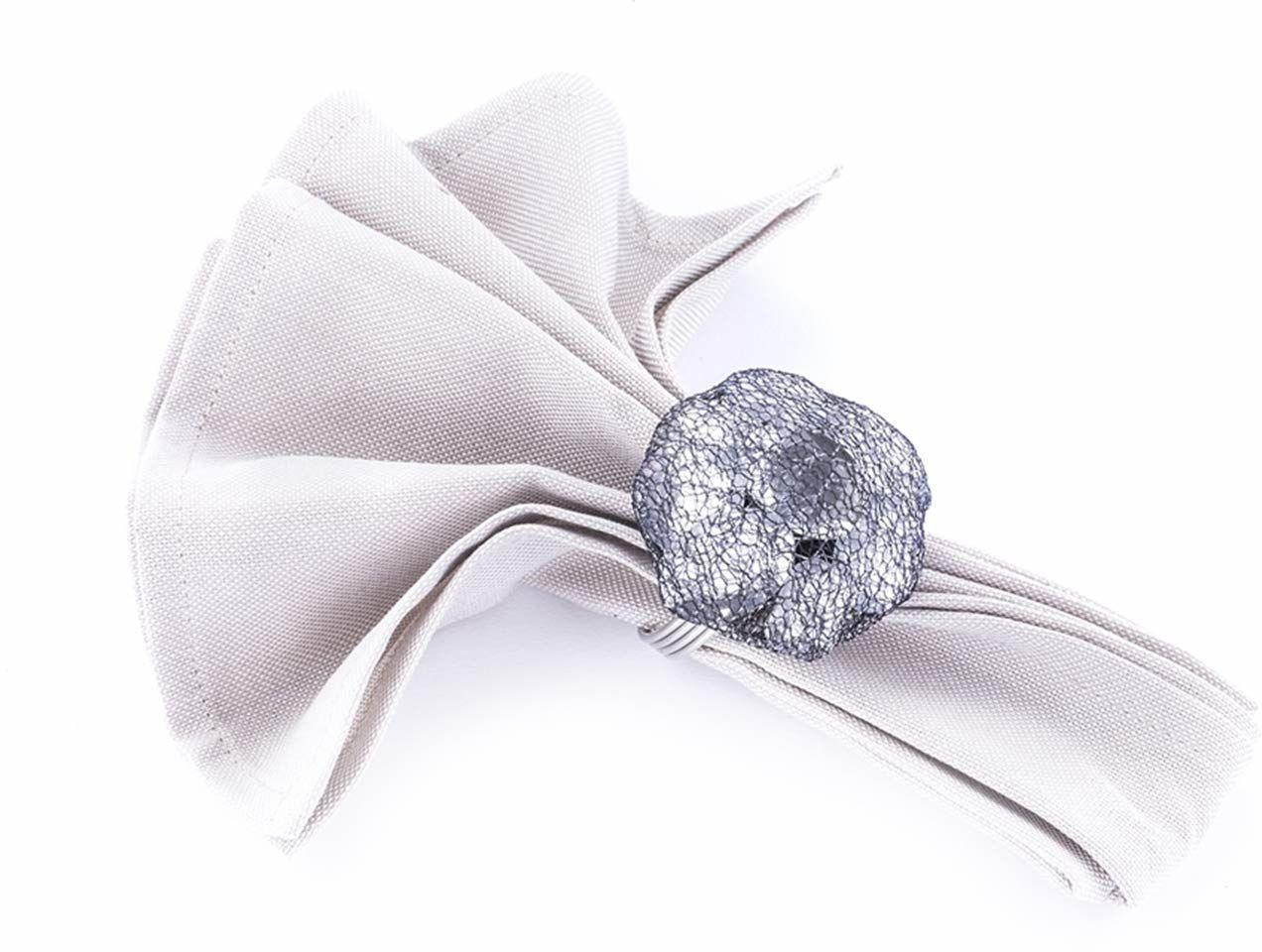 LegendArte lh-036 allacciatovaglioli pierścienie serwetki biżuteria, metal/szkło/wiskoza, szary/srebrny, 19 x 19 x 7 cm, 4 sztuki
