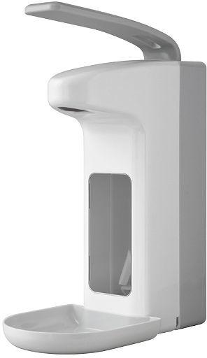 Dozownik łokciowy do płynów dezynfekcyjnych lub mydła w płynie Faneco 0.5 litra plastik biały