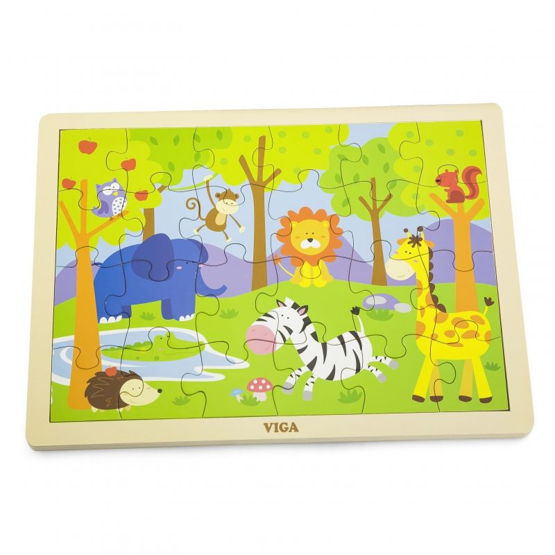 VIGA Drewniane Puzzle Safari 24 Elementy LK