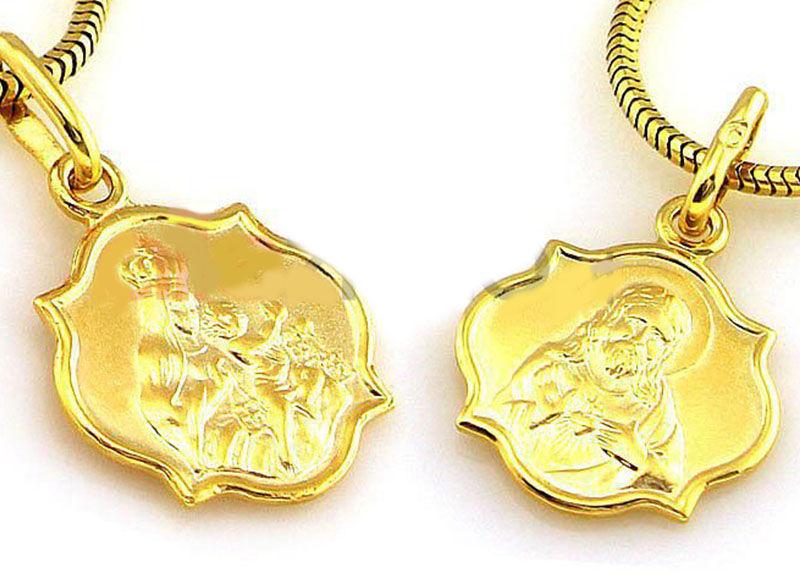 Złoty medalik 333 szkaplerz z Jezusem dwustronny