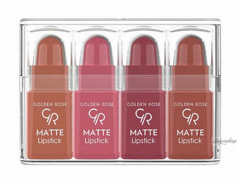 Golden Rose - Matte Lipstick Mix - Zestaw 4 matowych mini pomadek do ust - 01