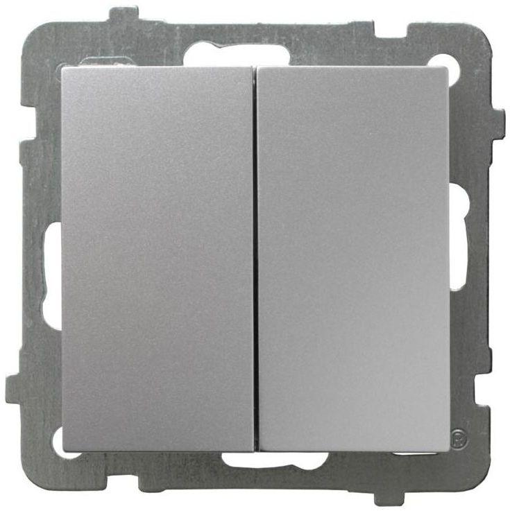 Włącznik schodowy podwójny AS srebrny OSPEL