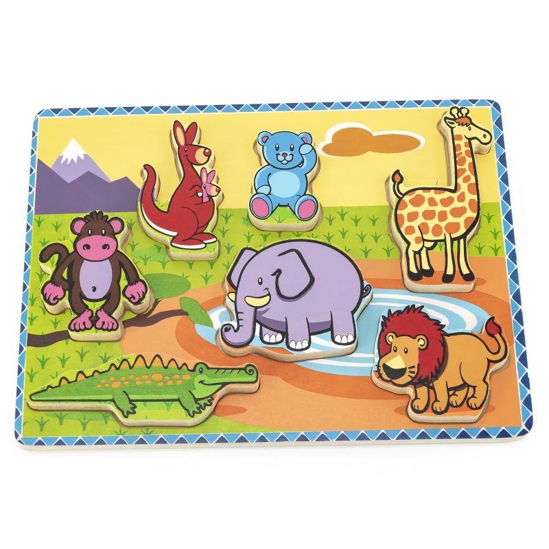 VIGA Grube Puzzle Dzikie Zwierzęta Dopasuj Kształty LK