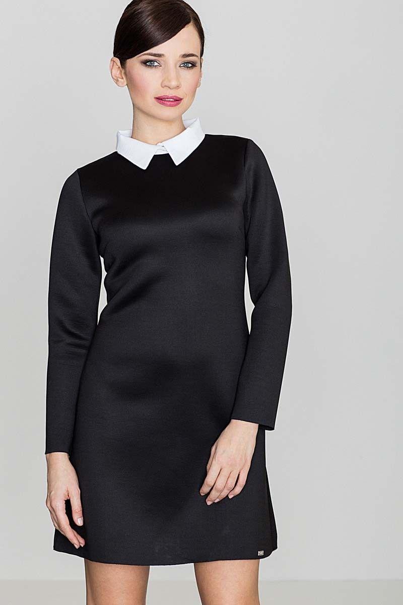 Czarna elegancka trapezowa sukienka z białym koszulowym kołnierzykiem
