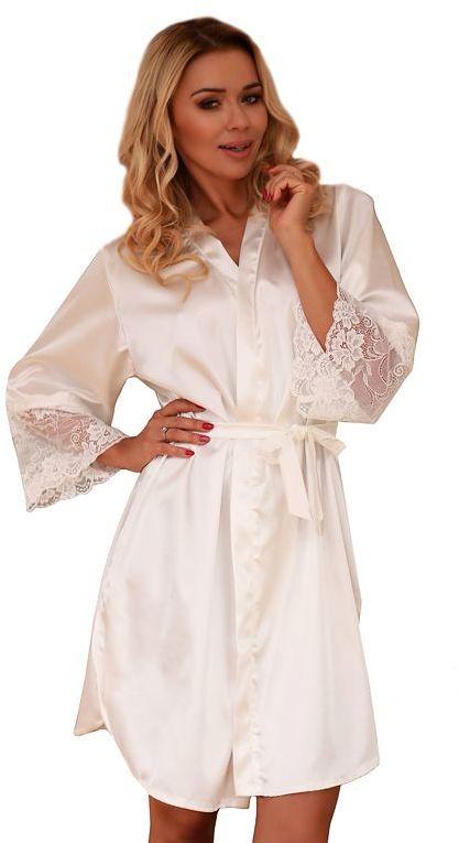 Satynowy damski szlafrok Marbella biały z