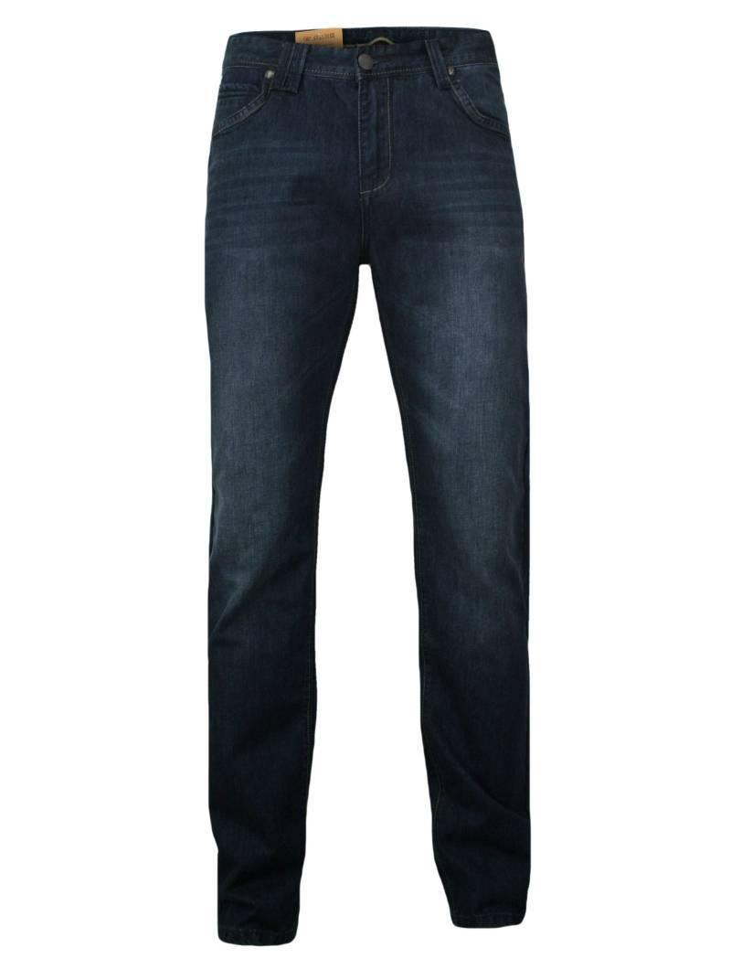 Klasyczne, Bawełniane Spodnie Męskie, Przecierane, JEANSY, Casual, Granatowe SPCHIAO16M06WZ